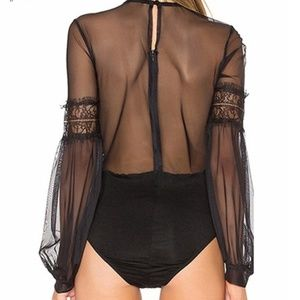 ultrachicfashion.com Tops - Black Lace Bodysuit With Sheer Mesh
